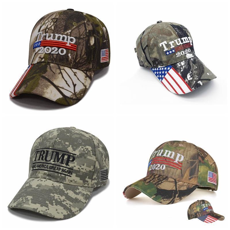 Camuflagem Donald Trump hat USA Flag baseball cap Keep America Great 2020 Hat 3D bordado estrela Carta camuflada salto ajustável