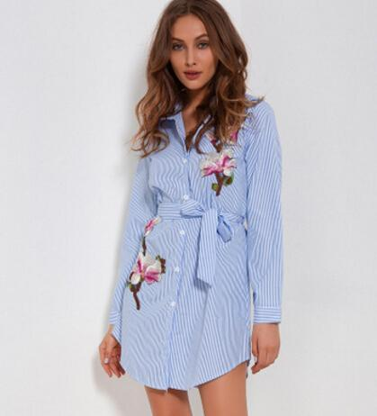 Women Striped Shirt Dresses Spring Summer Embroidery Flower Dress Sashes Single Breasted Irregular Design Casual Clothing Wear
