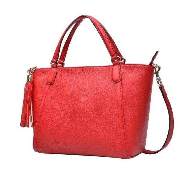حقائب اليد الحمراء المرأة الأعلى مقبض الصليب الجسم حقيبة محفظة دائمة جلد حمل حقيبة السيدات حقائب الكتف حمل