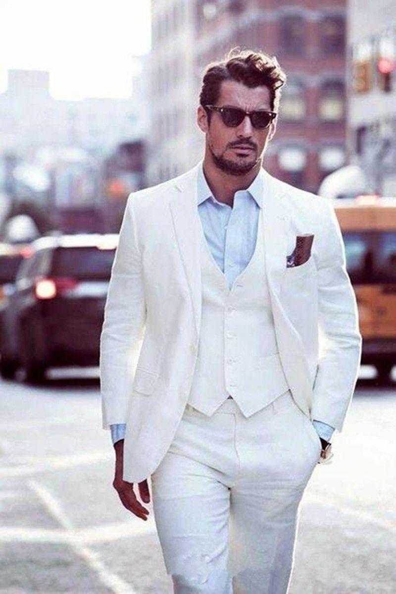 New Custom Slim Fit Uomo Bianco Abiti da sposo Smoking da sposa 3 pezzi (Giacca + Pantaloni + Gilet) Abiti da sposo Best Man Causale Abiti da sera Estate 530