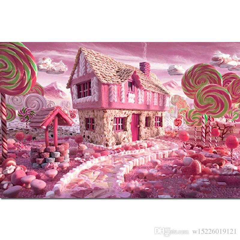 Full Drill Square 5d DIY Diamond Painting Candy House Diamond Embroidery Love Cartoon Lollipop Art Rhinestone Home Decor Gift X2