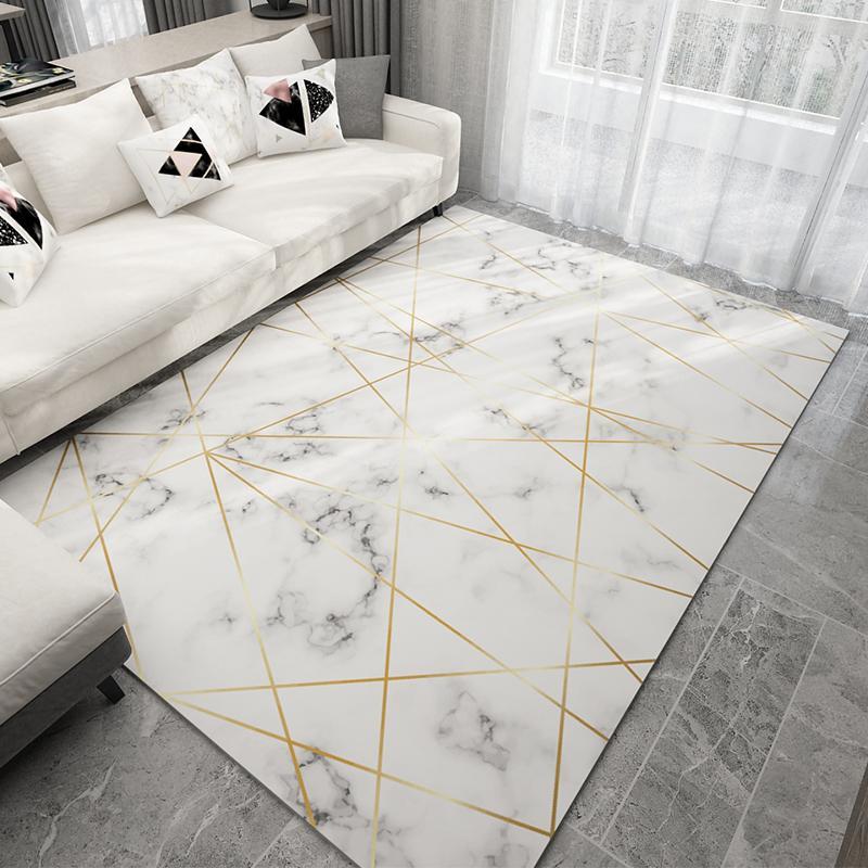 Nordic style géométrique Motif de marbre Tapis Tapis Salon Chambre Canapé Table basse Tapis Chambre Yoga Tapis rectangulaire Couverture de chevet