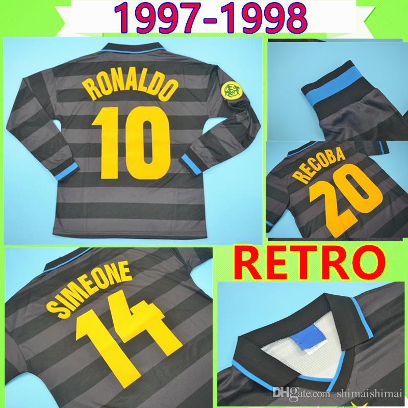 Inter Milan soccer jersey # 10 RONALDO 1997 1998 Retro Fußball-Trikot ZAMORANO lange Hülse Fußballhemd schwarz 97 98 klassischen Djorkaeff SIMEONE Jahrgang Maglia da calcio