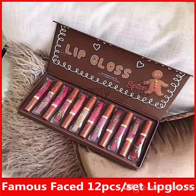 Marque célèbre Faced Maquillage 12 couleurs Gingerbread mis Matte Lipgloss Palette avec une belle qualité et expédition rapide