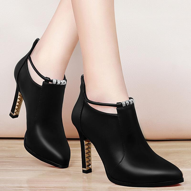High heels 2017 autumn new pointed autumn shoes black high heels fine with shoes waterproof platform water