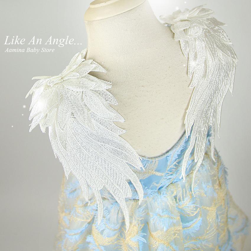 Come un angelo. Le ragazze delle neonate del ricamo della piuma delle ali 3d si vestono, vestiti da bambini di nozze della principessa del partito della principessa di estate per le ragazze 1-10 Y J190713