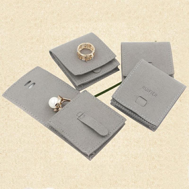 New Microfibre Clothr Bijoux Sac de rangement Brown Gris Bijoux Sac Collier Bague d'oreille dormeuses Bracelet sac de rangement de bijoux