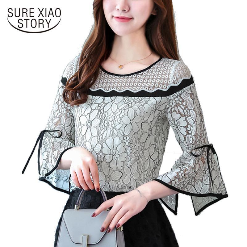 2018 nouvelle arrivée automne chemisier femme dame de bureau chemise blouse tops de femmes de chemise mince haut-parleur des femmes C913 30