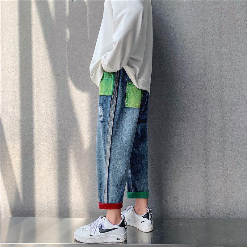erkek ins pantolon çok yönlü Kore 2020 Japon gevşek kot moda markası yaz delik ayak bileği uzunlukta pantolon moda