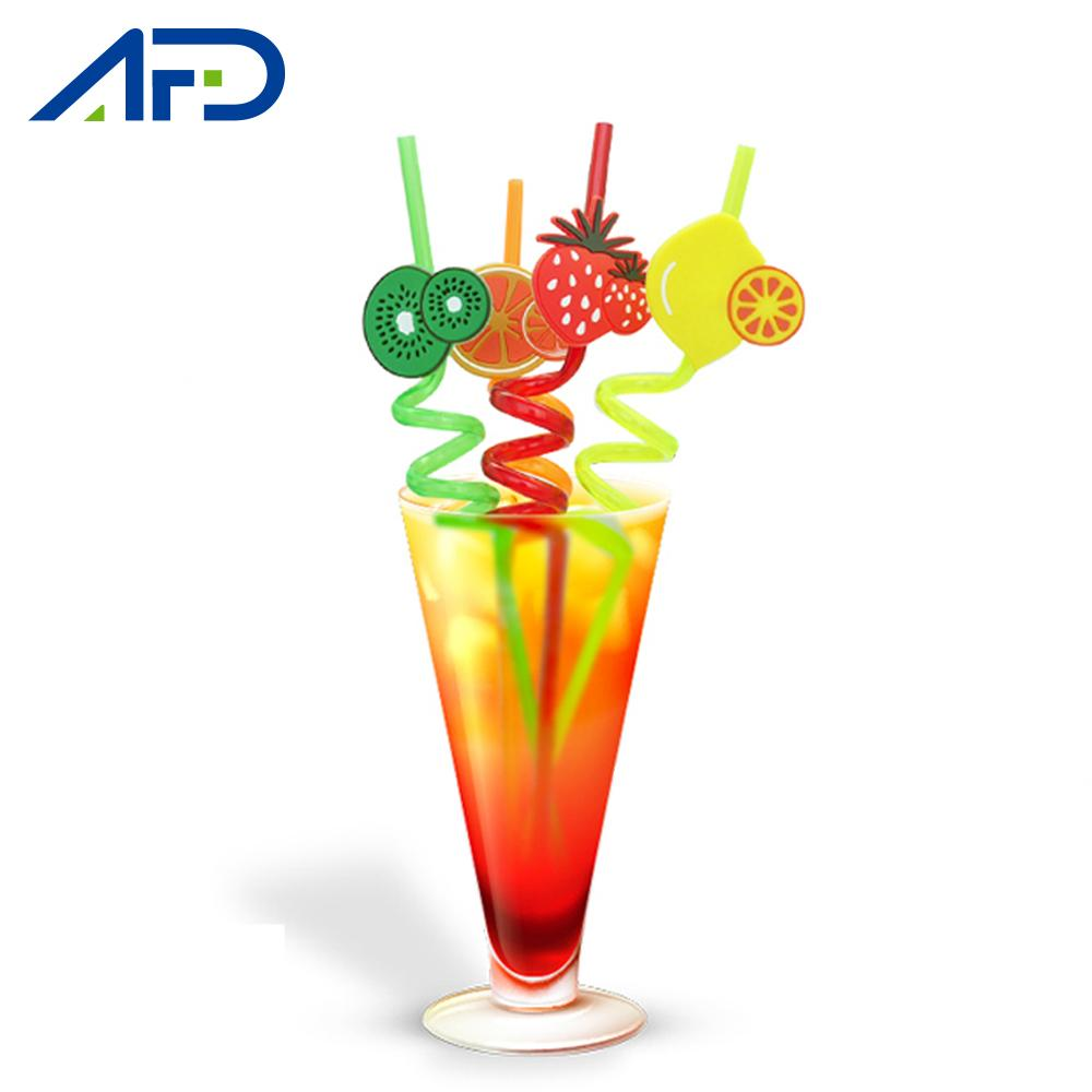 4pcs Theme Party Drinking Straws Tableware Birthday Party Fruit Animals Decoration Reusable Straw for Kids Adult Supplies