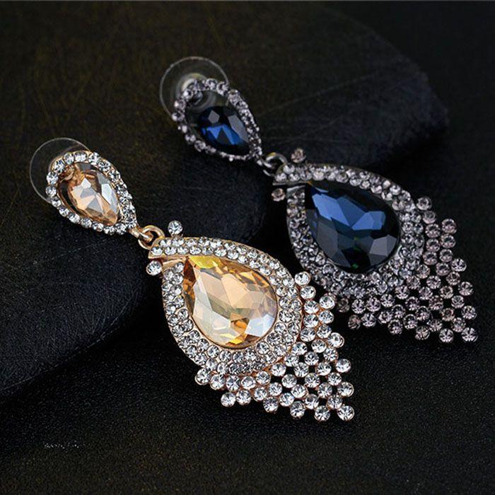 Diamant Quaste Ohrringe Ohrstecker Glas Quaste Drop Danle Ohrringe Hochzeit Schmuck Frauen Ohrringe Willen und Sand Modeschmuck
