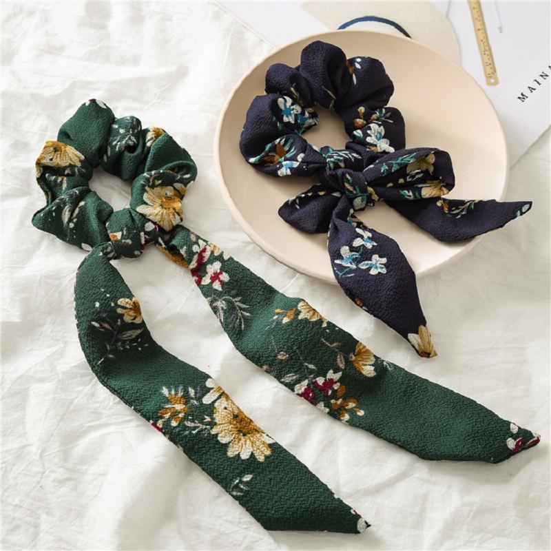 Kadınlar Kız Aksesuarları Saç Bandı Bağları Big Uzun Kauçuk Halat Ribbon için Vintage Çiçek Saç Scrunchie Bow INS at kuyruğu Tutucu