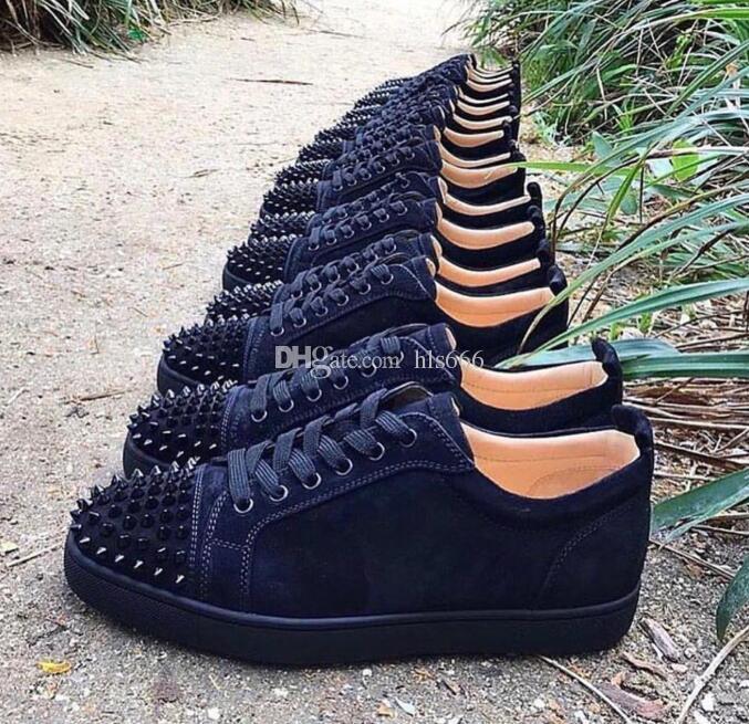 Kırmızı Alt Düşük Üst Genç Spike Flats Ayakkabı Erkekler ve Kadınlar Deri Sneakers Rahat Ayakkabılar