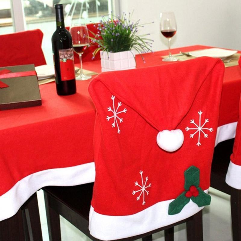 ABUI-Weihnachtsfeierta Stuhl Hut Abdeckung Tischdecke Christmas Party Table Dinner Dekoration Wohnkultur