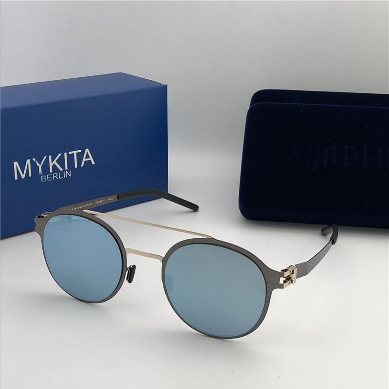 óculos de sol novos mykita quadro ultraligado sem parafusos MKT CROSBY quadro redondo flap Top men Óculos De Sol Marca Designer revestimento lente espelho