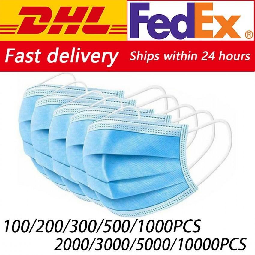 Wholesale Disposable Face Mask 3 Ply Ear Loop Anti Dustproof Face Respirator Masks Non Woven Bacterial Filter Mascherine Free DHL