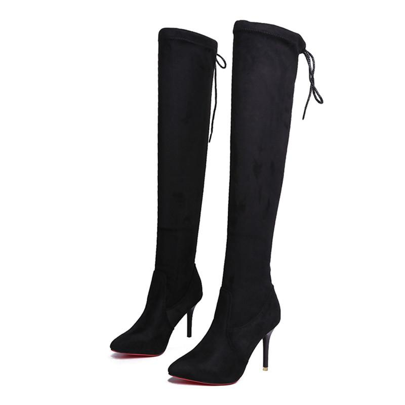 Diz Üzeri Siyah Seksi Kırmızı Alt Kadınlar Uzun Çizme Sıcak Flock Süper Yüksek Topuk Boots stiletto bota Feminina 2019 boyutu 34 39 T200425