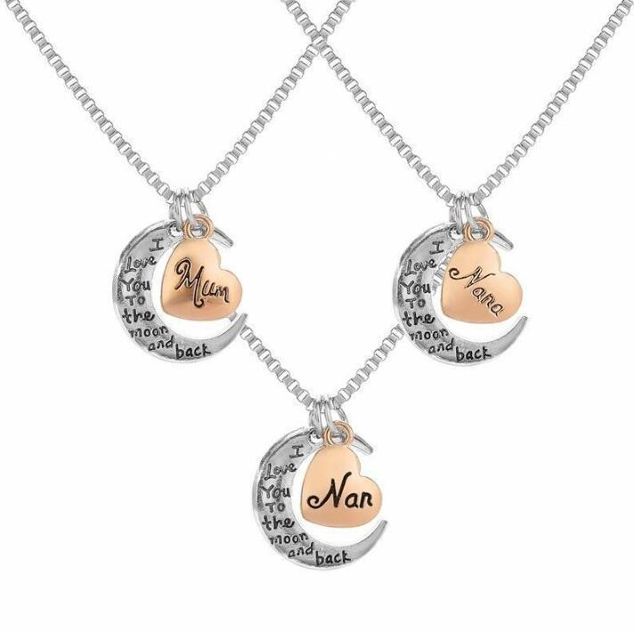I Love Mom Necklace Crescent Pendant Tibetan Silver Necklace Women Pendant Romantic Jewelry Charm Fashion Accessories Handmade Gift