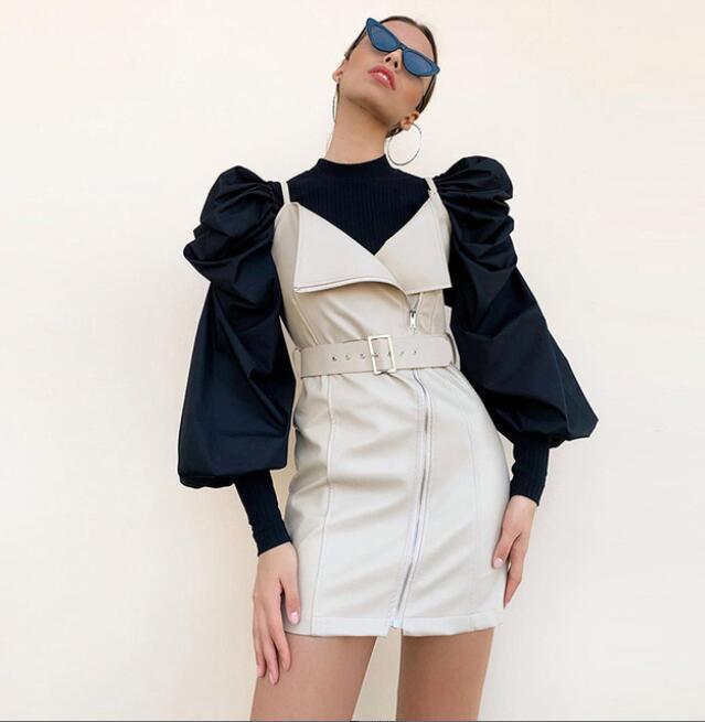 여성 스웨터 봄 가을 퍼프 슬리브 레이디 스웨터 쿨를위한 새로운 패션 디자이너 T 셔츠 3 색 옵션 탑