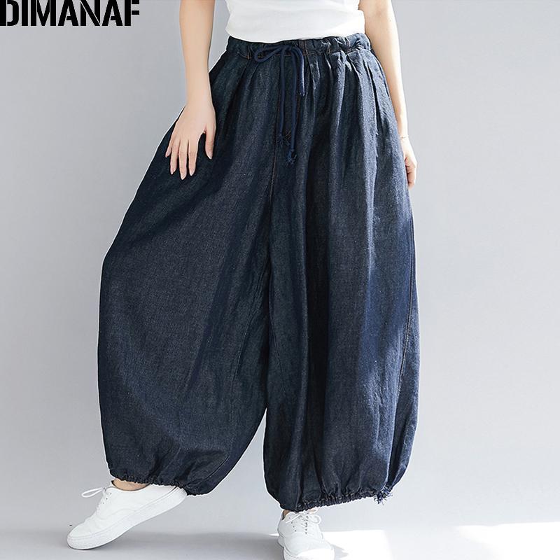Dimanaf Plus Size Women Wide Leg Long Pants Autumn Jeans Pants Casual Vintage 2018 Oversized Elastic Waist Large Pantalones 5xl Y19070101