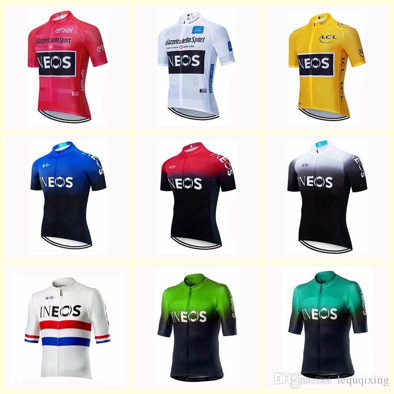 INEOS 팀 사이클링 반팔 저지 새로운 자전거 방풍 의류 자전거 조끼 남성 스포츠웨어 U20030902을 껐다