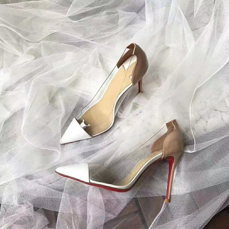 Lüks tasarımcı kadın şeffaf patchwork topuklu ayakkabı hakiki deri bayan sivri ayak ayakkabılar parti düğün ayakkabıları ücretsiz kargo elbise