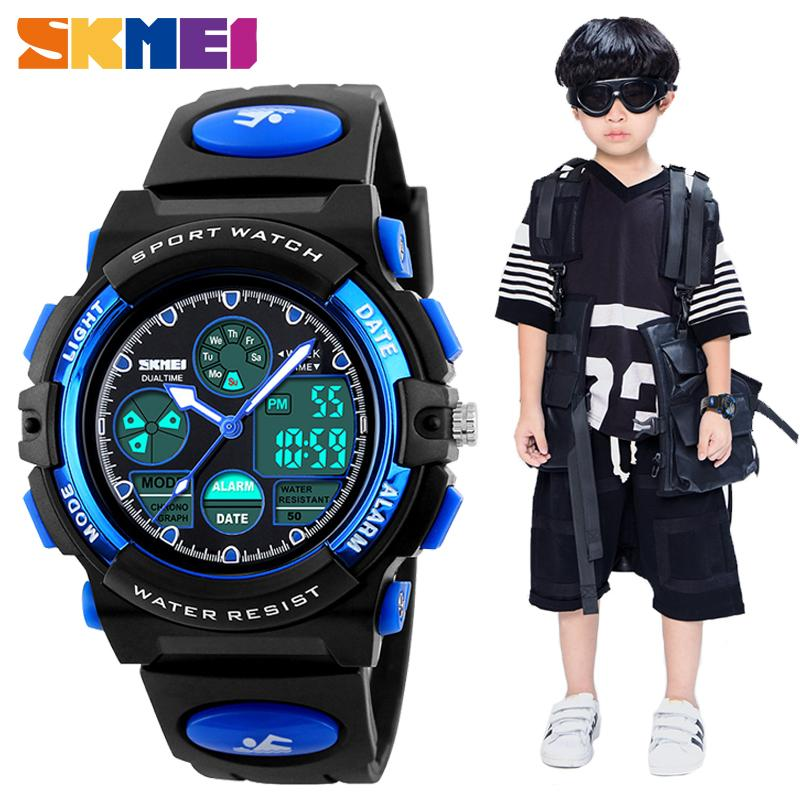 Skmei Moda Crianças Led Digital Para Meninos Menina Esporte Pu relógios de Pulso Relógio Inteligente Crianças Relógios À Prova D 'Água Montre Enfant J190526