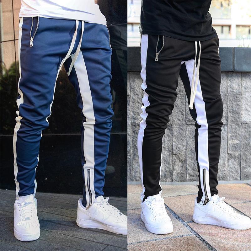 2019 Joggers Мужского Streetwear Sweatpants Молния Упругого хип-хоп Повседневного Гарем Карандаш Pant Tight Тощего Брюки Брюки Jogger