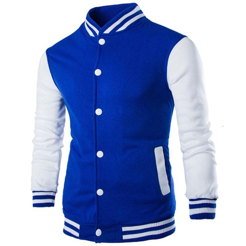 Moda de Nova Men Boy Colégio Jacket Men 2017 Outono Inverno Casacos manga comprida azul dos retalhos Projeto Mens Slim Fit jaquetas Outwear M-2XL
