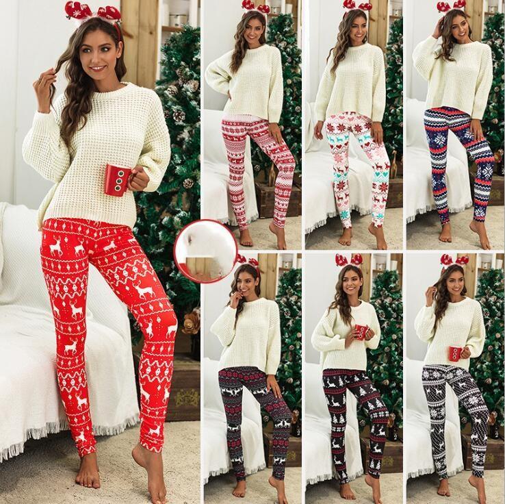 크리스마스 순록 레깅스 눈송이 레깅스 여성 패션 꽃 연필 바지 인쇄 슬림 탄성 바지 7Styles DHL 무료 LXL716-1