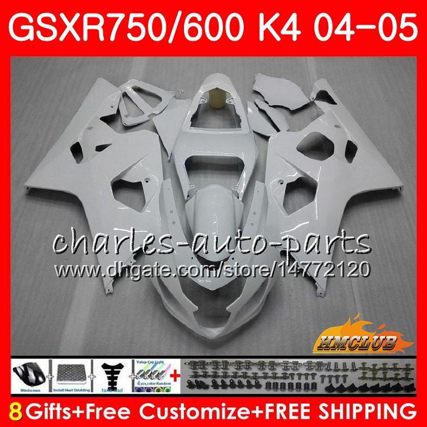 鈴木GSXR 750 GSX R600 R750 GSXR600 2004 2005 7HC.28 GSXR 600 GSXR-750 04 05光沢のある白いGSX-R600 K4 GSXR750 04 05フェアリゾーン