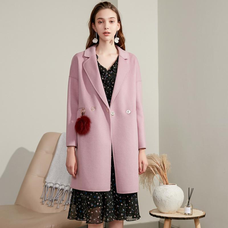 KMETRAM Abrigo de lana real Chaqueta femenina Mujer Primavera 2019 Coreano Abrigos y chaquetas de lana larga Abrigo de mujer Abrigo Mujer MY3159