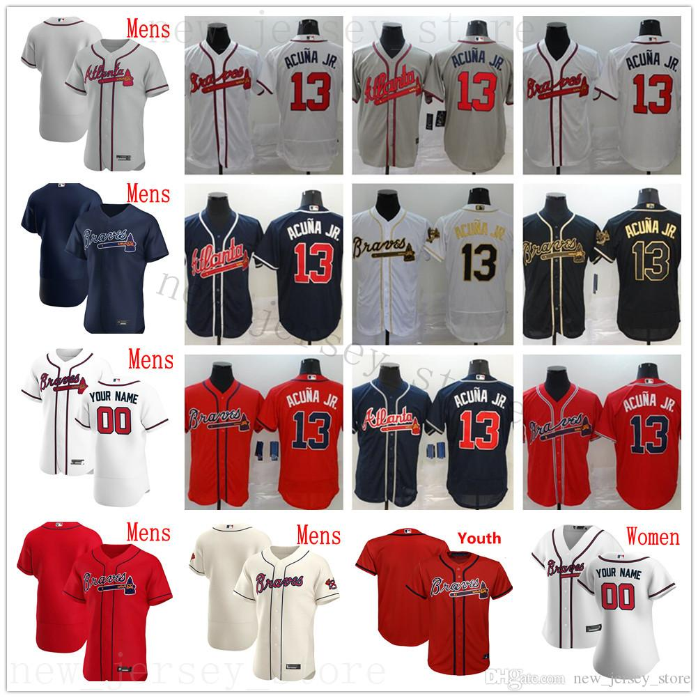2020 New Baseball 7 Dansby Swanson 15 Sean Newcomb 20 Josh Donaldson 19 Shane Greene Chipper Jones John Smoltz Maillots Homme Femme Enfant