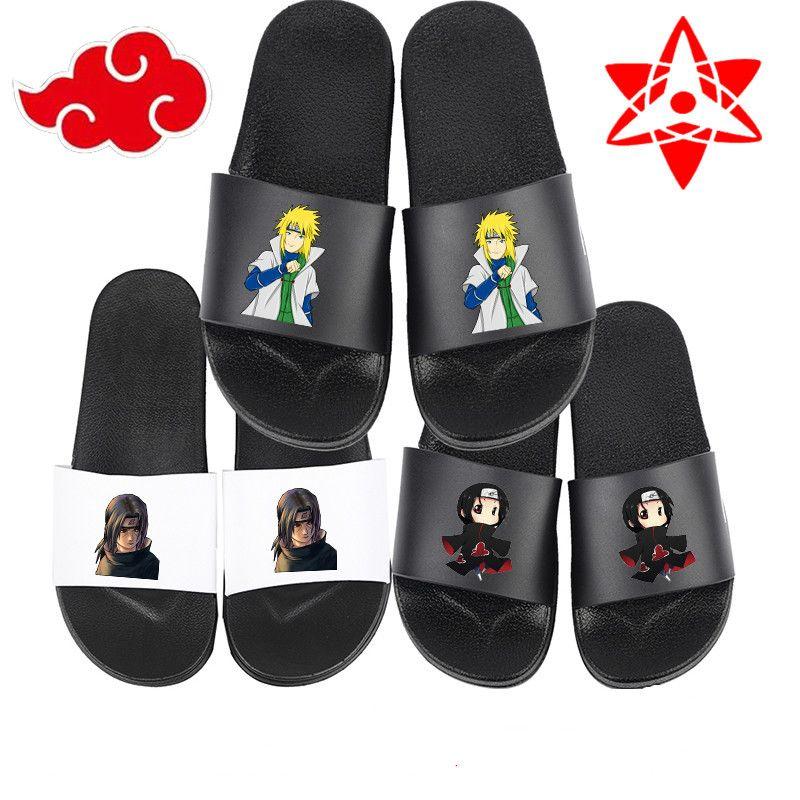 Unisex Anime Naruto Slippers Naruto Uchiha Sasuke Kakashi Cosplay Summer Flip Flops Soft Rubber Beach Water Sandals X9167