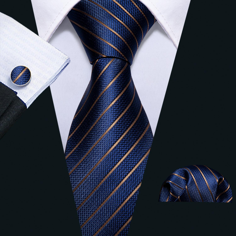 Hızlı Kargo Ipek Kravatlar Erkek 100% Tasarımcılar Moda Donanma Mavi Çizgili Kravat Hanky Kol Düğmeleri Mens Resmi Düğün Parti Damat N-5032 Için Setleri