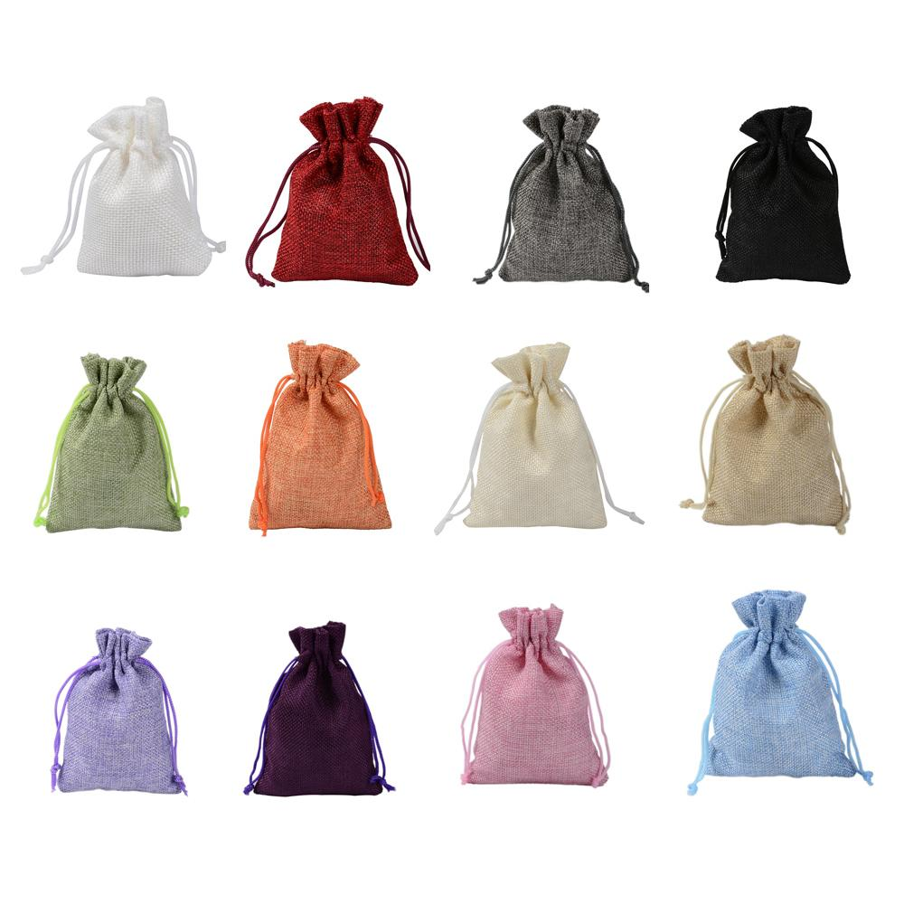 7x9 9x12 10x14 13x18 50pcs Coloful Linen Bag Jewelry Packing Jute bag Drawstring Pouches Mini Bags can Customized