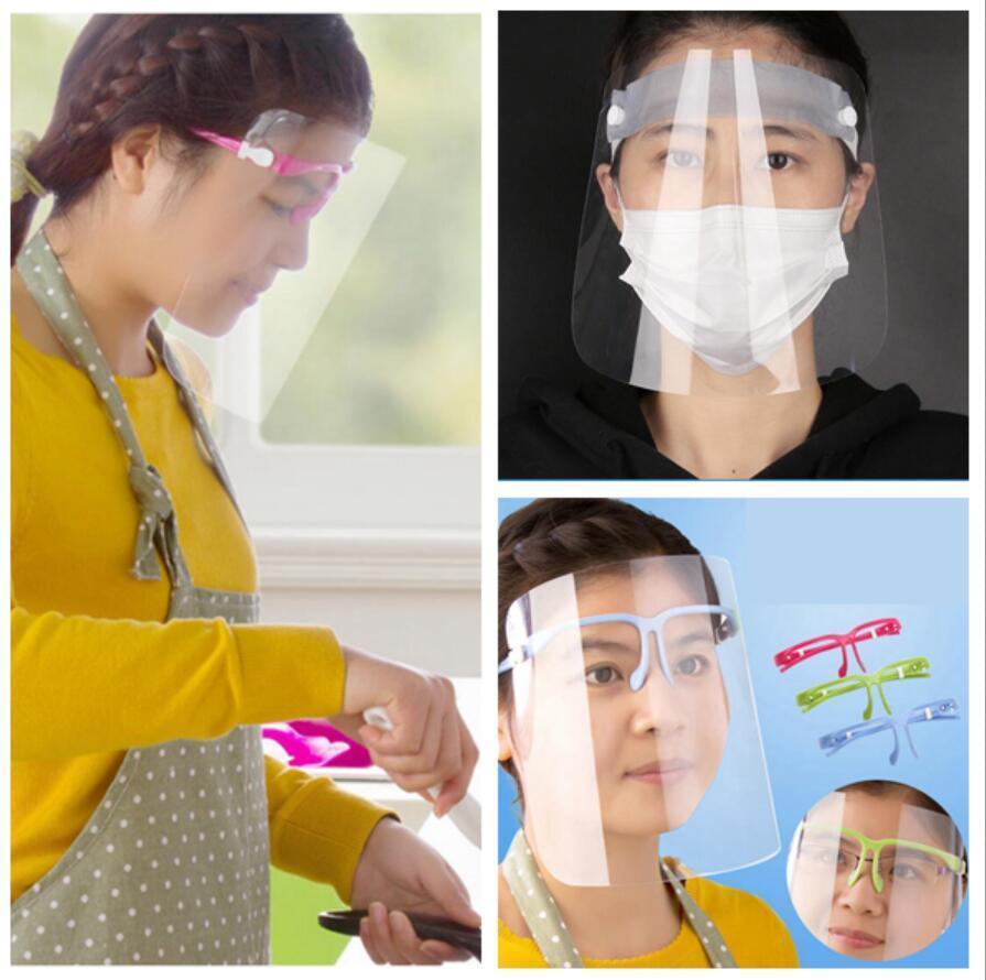 Escudo transparente Mascarilla Mascarilla anti polvo protectora Gafas de sol de la cara llena titular protectora de la cara Máscaras viseras OOA7772