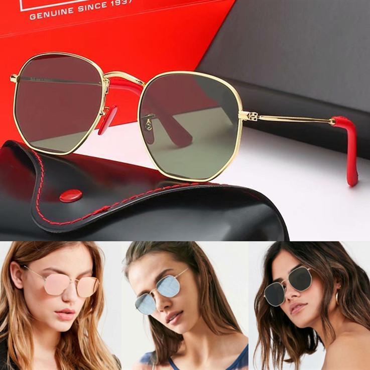 Obiettivo di vetro Polaroid brand design della montatura da sole polarizzati Moda Uomo Donna pilota Occhiali da sole UV400 Eyewear del metallo con il caso e la scatola