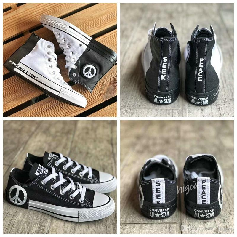 2019 New Converse All Star Seek Peace Men Women Designer High Top Sneakers  Casual Chuck Black White Skateboard Shoes Chaussures Gold Shoes Mens Casual  ...