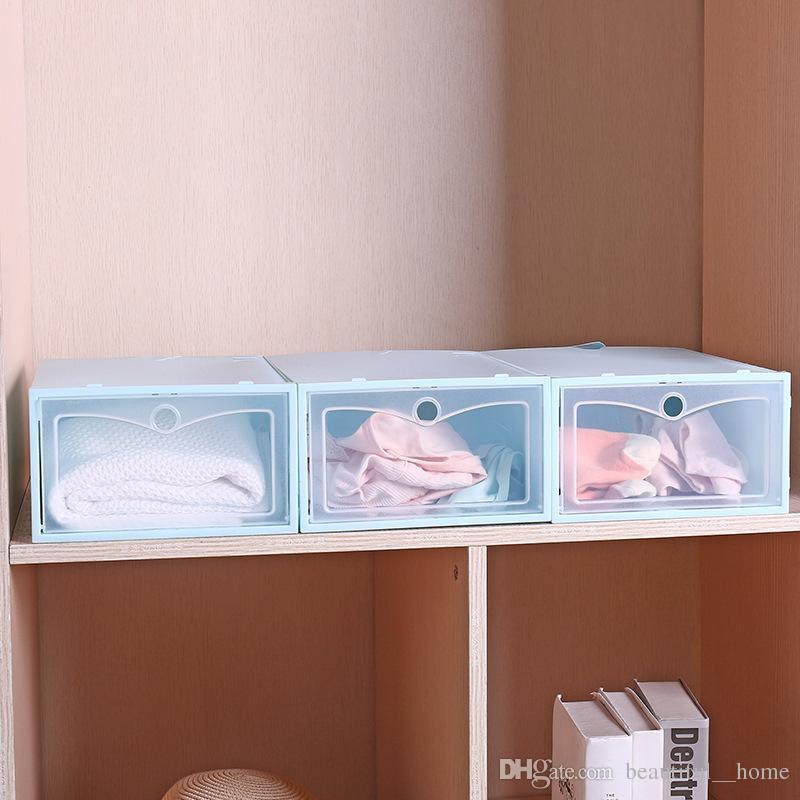 Nouvelle boîte de rangement de chaussures en plastique transparent boîte à chaussures japonaise boîte tiroir rabat épaissie organisateur de stockage de chaussures G63E livraison gratuite