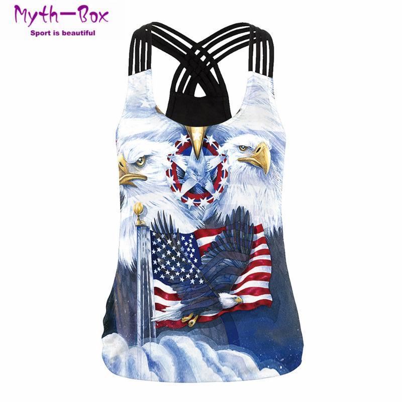 Verano deporte de las mujeres Tops Águila 3D Camisa de impresión Mujer Yoga Ejecución del chaleco sin mangas de las camisetas correas cruzadas tapas del tanque del chaleco de la blusa de la gimnasia