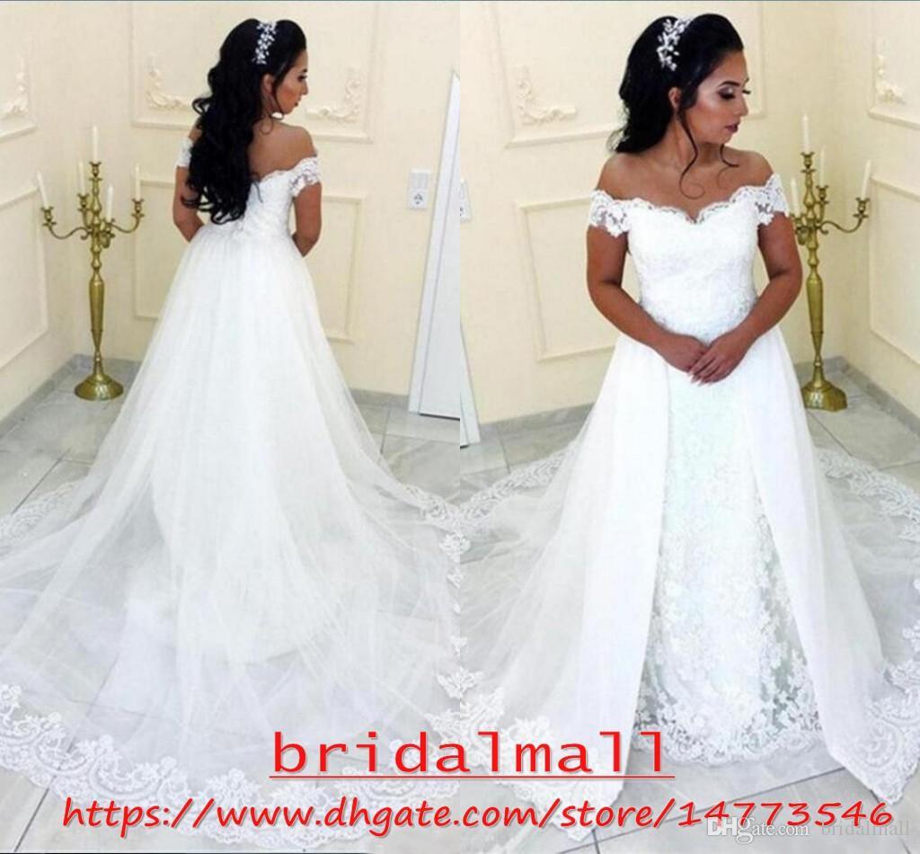 Plus Storlek 2020 Appliqued Lace African Bröllopsklänningar Mermaid med Overkirt Off Shoulder Country Boho Arabiska Bröllopklänningar Avtagbart tåg