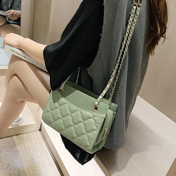 donne Presa di fabbrica della borsa nuova dolce piccola borsa catena in pelle fresca classica tracolla in pelle ondulata plaid borsa catena di tendenza della via
