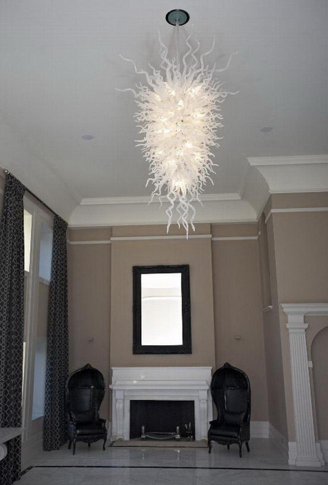 Big White vidro fundido Candelabro Luz Top design Murano Estilo Custom Made Hotel Decor Glass LED Chandelier Pingente