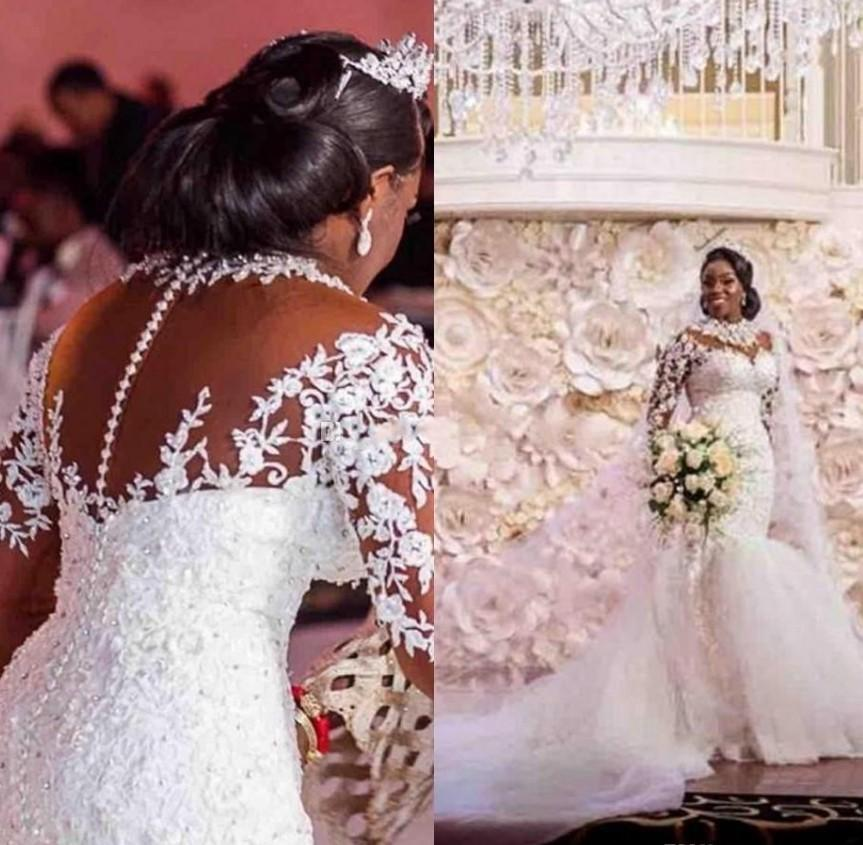 2020 New Sheer Lace Appliques Long Sleeves Mermaid Wedding Dresses Beading Custom Made Bridal Gowns Formal Plus Size Vestidos De Marrage