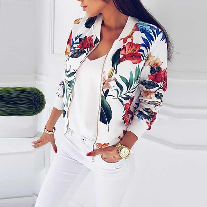 2020 manera de las mujeres chaqueta de primavera señoras floral retro cremallera hasta la chaqueta de bombardero capa ocasional del resorte del otoño Outwear la impresión Mujeres