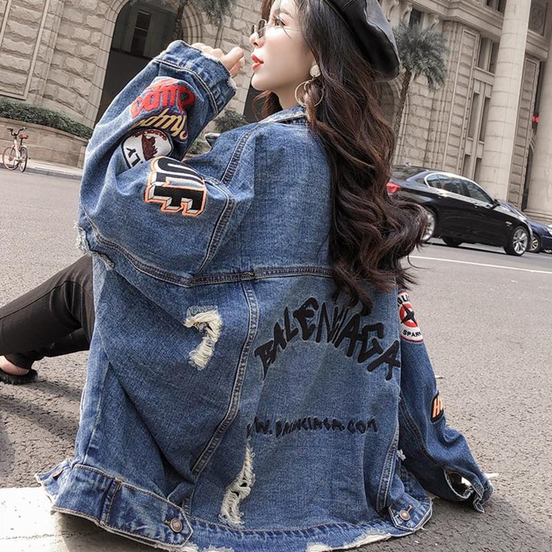 SexeMara fashion The New Loose Hole 자수 문장 데님 재킷 무료 배송