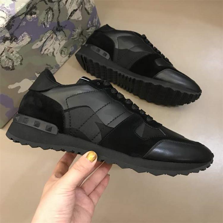 El diseñador de moda del perno prisionero del camuflaje de las zapatillas de deporte de la roca Runner hombres, mujeres caminando Pisos alta calidad Rockrunner Formadores EU36-46 informal