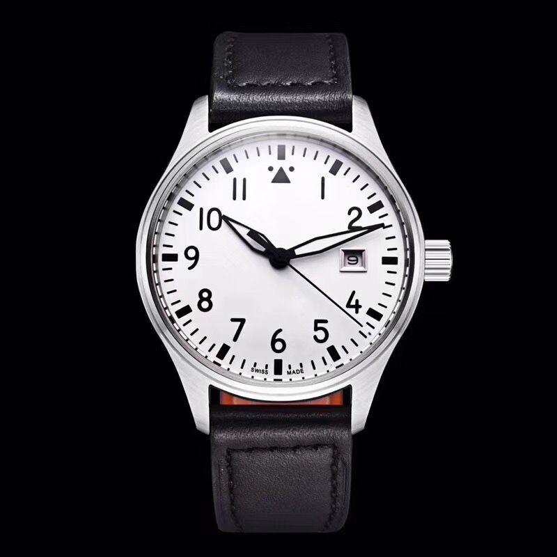relógio Top homens Pilot MARK XVII IW327004 40 milímetros Dial Branco altos relógios de pulseira de couro preto Homens Mecânico Automático