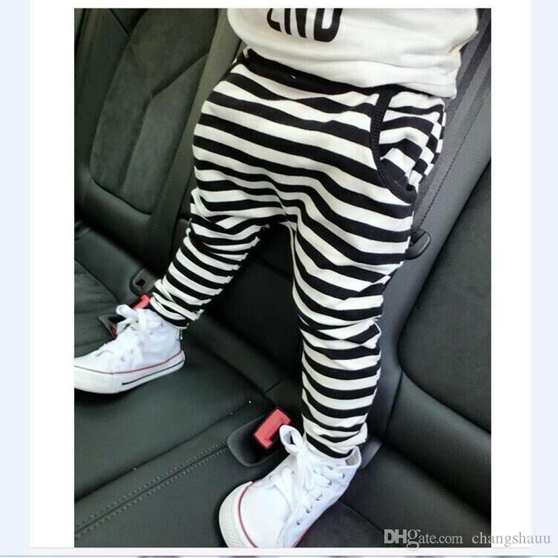 Venta caliente size90 ~ 130 algodón niños harem pantalones para niñas pantalones niños pantalones raya 2019